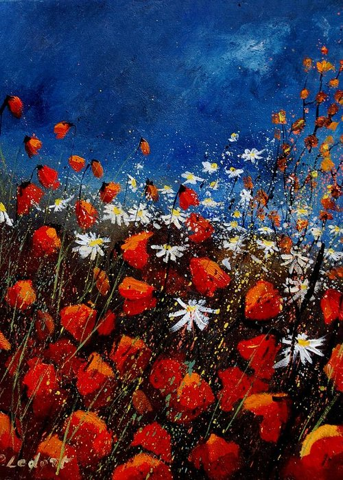 Flowers Greeting Card featuring the painting Red Poppies 451108 by Pol Ledent