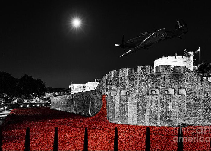 Spitfire Greeting Card featuring the photograph Red Poppies At Tower Of London With Spitfire Flypast by Philip Pound