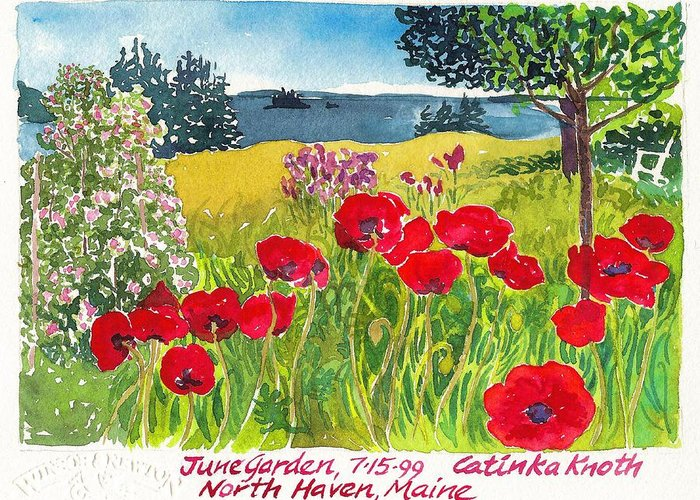 Summer Greeting Card featuring the painting Red Poppies Coastal Maine Island June Garden North Haven by Catinka Knoth