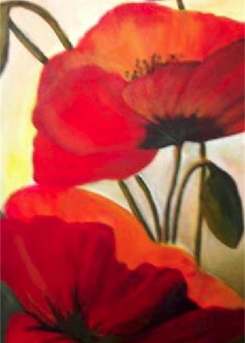Floral Greeting Card featuring the painting Red Poppies by Eileen Kasprick