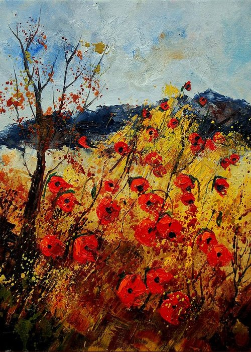 Poppies Greeting Card featuring the painting Red Poppies In Provence by Pol Ledent