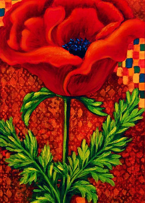 Poppy Greeting Card featuring the painting Red Poppy 2 by Lynn Lawson Pajunen