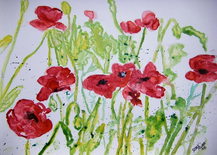 Poppy Greeting Card featuring the painting Red Poppy Flowers by Derek Mccrea