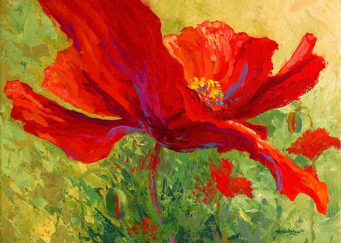 Poppies Greeting Card featuring the painting Red Poppy I by Marion Rose