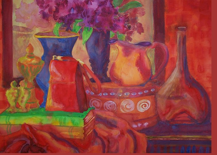 American Greeting Card featuring the painting Red Purse On Green Book by Blenda Studio