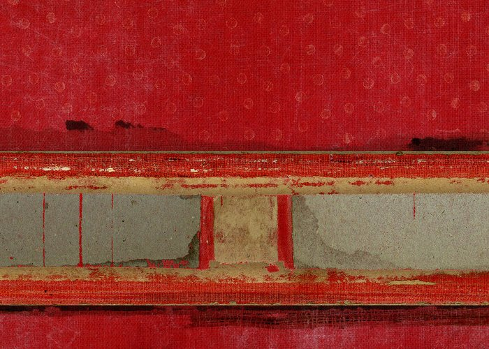Red Greeting Card featuring the mixed media Red Riley Collage Square 2 by Carol Leigh