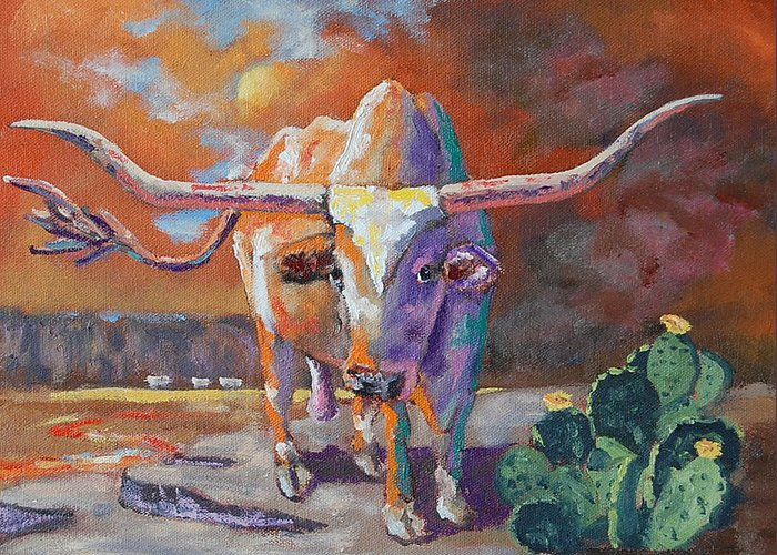 Red River Greeting Card featuring the painting Red River Showdown by J P Childress