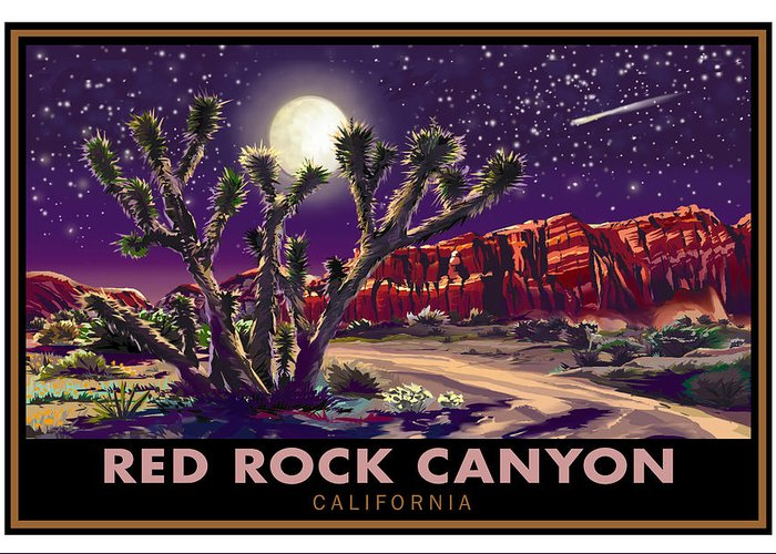 Red Rock Canyon Greeting Card featuring the painting Red Rock Canyon by Steve Beaumont