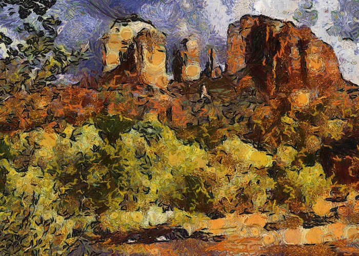 Red Rock Greeting Card featuring the digital art Red Rock Crossing by Elaine Frink