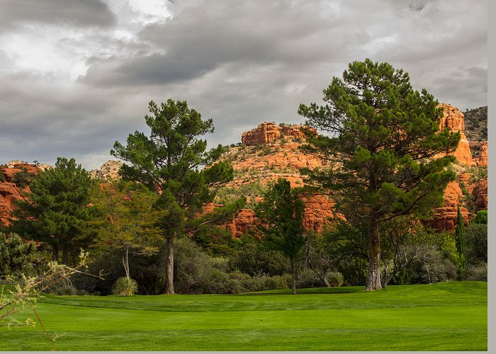 Fairway Greeting Card featuring the photograph Red Rock Fairway by Susan Westervelt