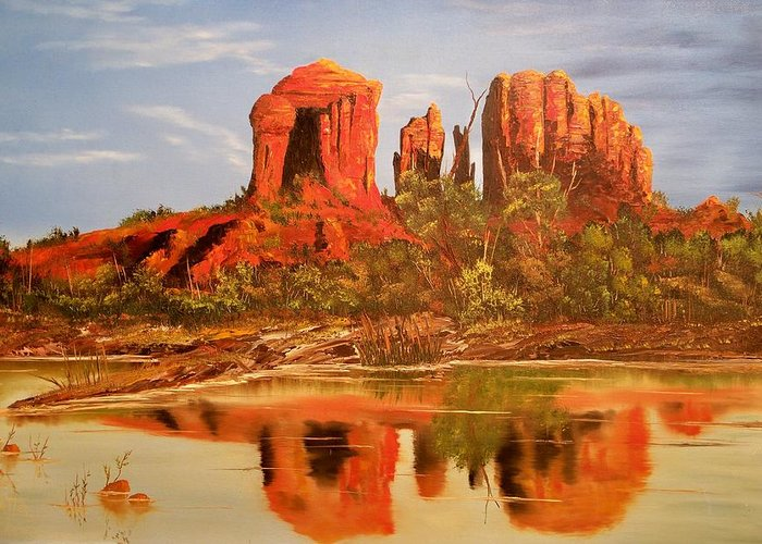 Rocks Greeting Card featuring the painting Red Rock by Patrick Trotter