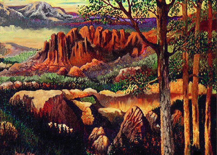 Mountains New Mexico Arizona Rocks Trees Hobbits Giclee Prints Greeting Card featuring the painting Red Rock Uplift by Donn Kay