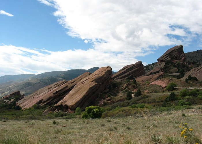 Red Rocks Greeting Card featuring the photograph Red Rocks Denver by Margaret Fortunato