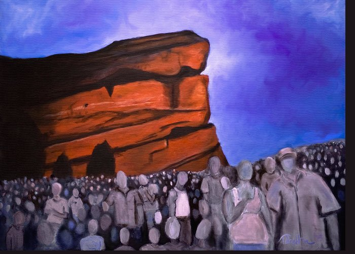 Red Rocks Greeting Card featuring the painting Red Rocks by Tabetha Landt-Hastings