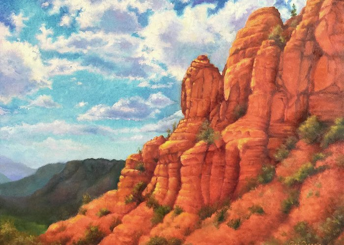 Sedona Greeting Card featuring the painting Red Rocks by Teri Rosario