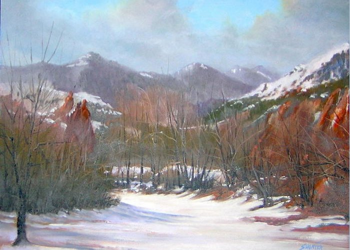 Landscape Greeting Card featuring the painting Red Rocks Walking Trail 050925-129 by Kenneth Shanika