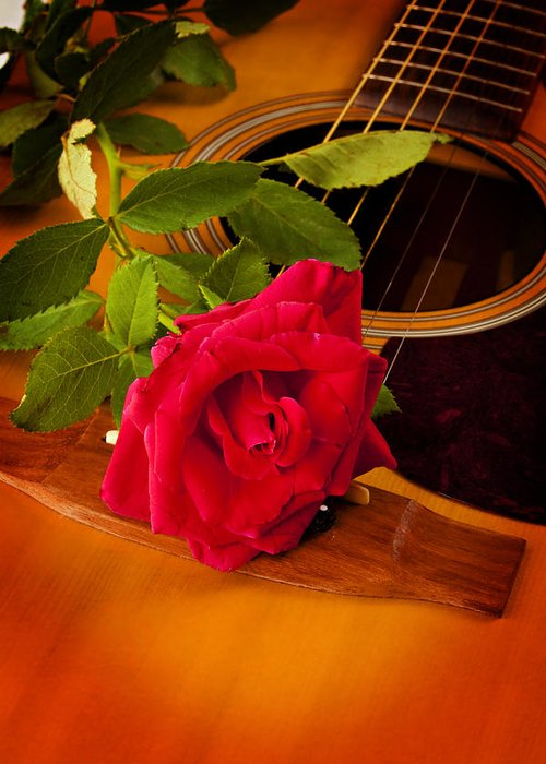 Guitar Greeting Card featuring the photograph Red Rose Natural Acoustic Guitar by M K Miller