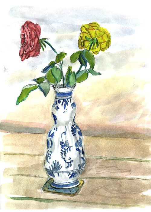 Kevin Callahan Greeting Card featuring the painting Red Rose Yellow Rose by Kevin Callahan