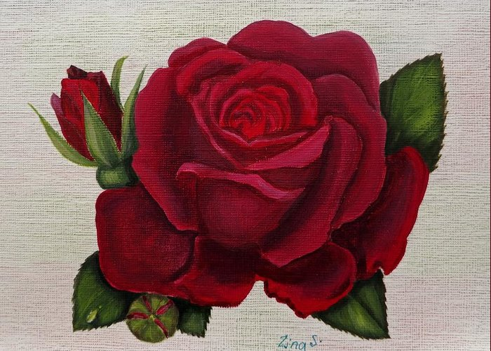Rose Art Greeting Card featuring the painting Red Rose by Zina Stromberg
