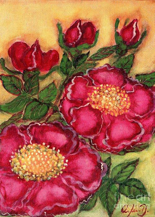 Folkartanna Greeting Card featuring the painting Red Roses by Anna Folkartanna Maciejewska-Dyba
