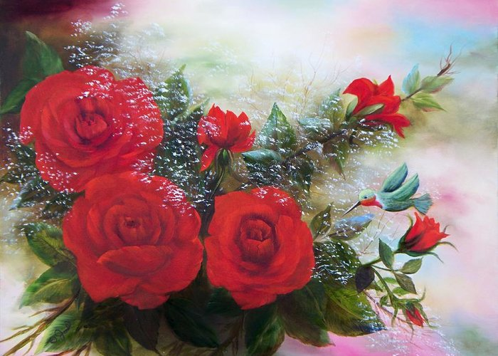 Oil Paintings Greeting Card featuring the painting Red Roses by Joni McPherson