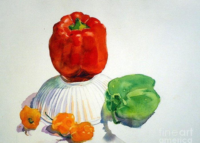 Peppers Greeting Card featuring the painting Red Rules by Elizabeth Carr