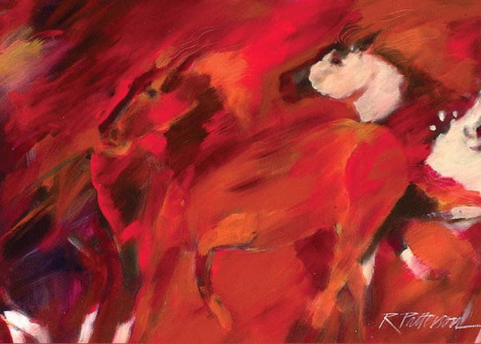 Nature Greeting Card featuring the painting Red Runners by Ron Patterson