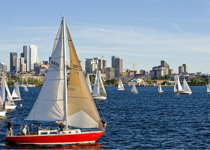 Seattle Greeting Card featuring the photograph Red Sail Boat by Tom Dowd