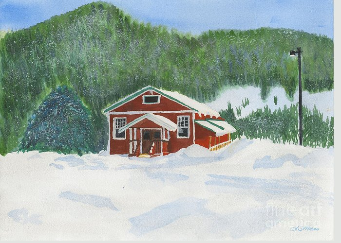 Schoolhouse Greeting Card featuring the painting Red School House by Louise Magno