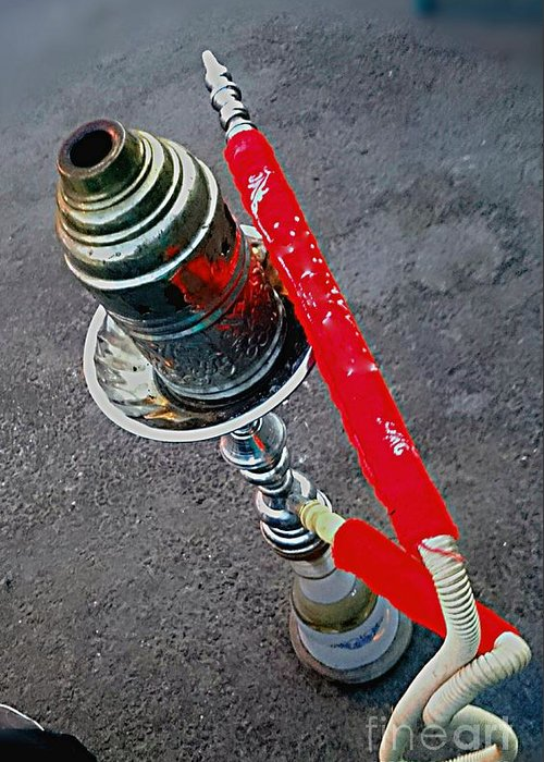 Red Shisha Hookah Smoking Water Pipe Street Asphalt Grey Metal Silver Greeting Card featuring the photograph Red Shisha by Mina Milad