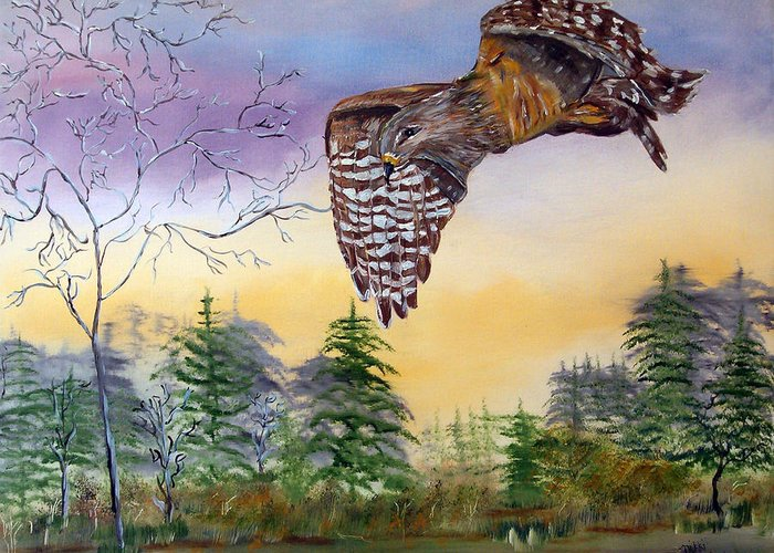 Hawk Greeting Card featuring the painting Red Shouldered Hawk by Mikki Alhart