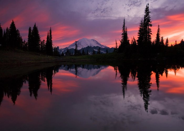 Rainier Greeting Card featuring the photograph Red Sky At Night by Mike Dawson