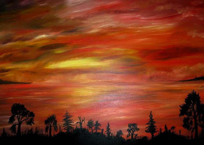 Greeting Card featuring the painting Red Sky Delight by Michael Schedgick