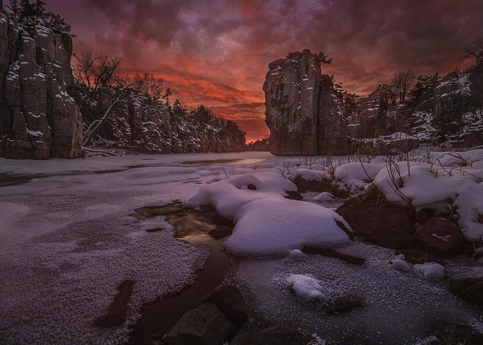 King Rock Greeting Card featuring the photograph Red Sky, King Rock by Aaron J Groen