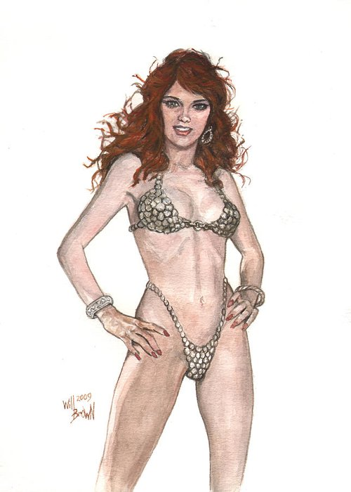 Red Sonja Greeting Card featuring the painting Red Sonja Pinup by Will Brown