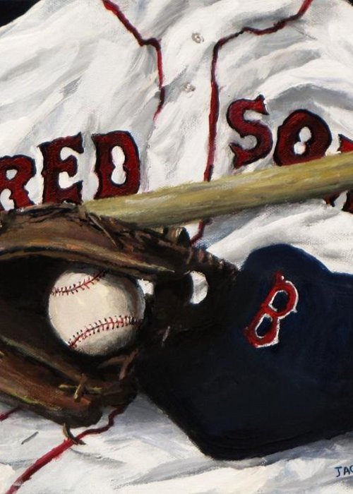 Baseball Greeting Card featuring the painting Red Sox Number Nine by Jack Skinner