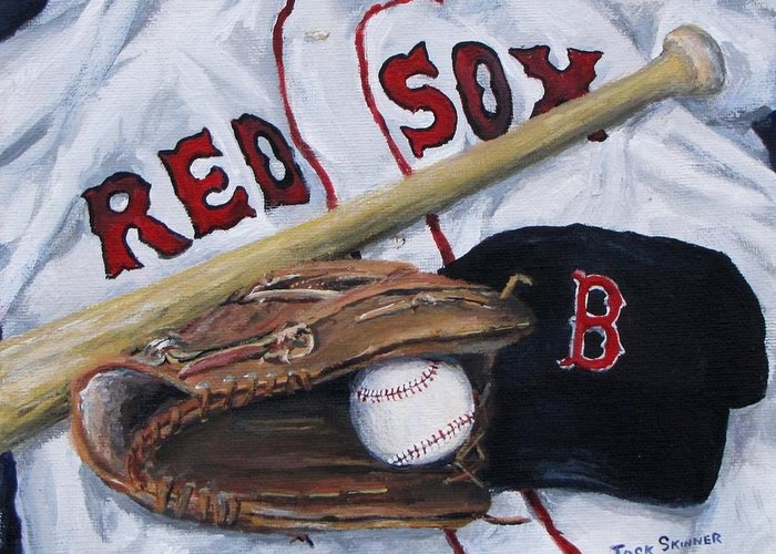Red Sox Greeting Card featuring the painting Red Sox Number Six by Jack Skinner