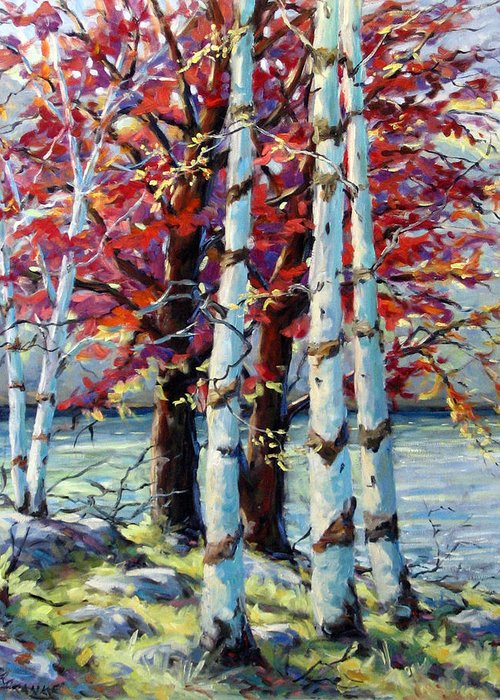 Birches Greeting Card featuring the painting Red Splash by Richard T Pranke