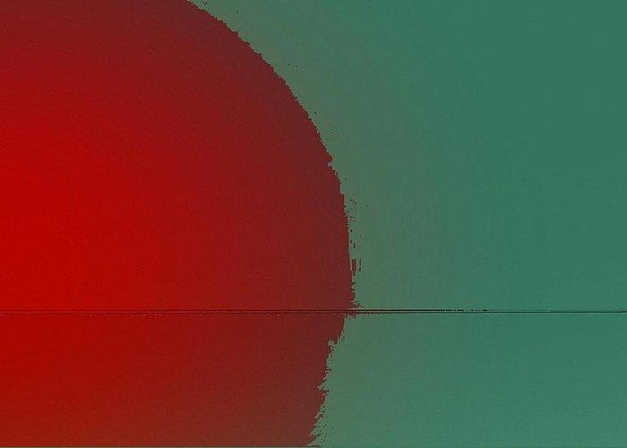Sunset Greeting Card featuring the digital art Red sunset by Joseph Ferguson