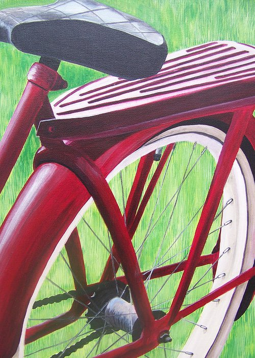 Antique Bicycle Greeting Card featuring the painting Red Super Cruiser Bicycle by Charlene Cloutier