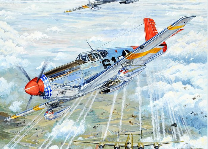P-51 Greeting Card featuring the painting Red Tail 61 by Charles Taylor