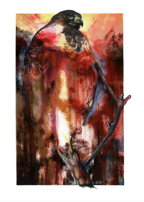 Red Greeting Card featuring the mixed media Red Tail by Anthony Burks Sr