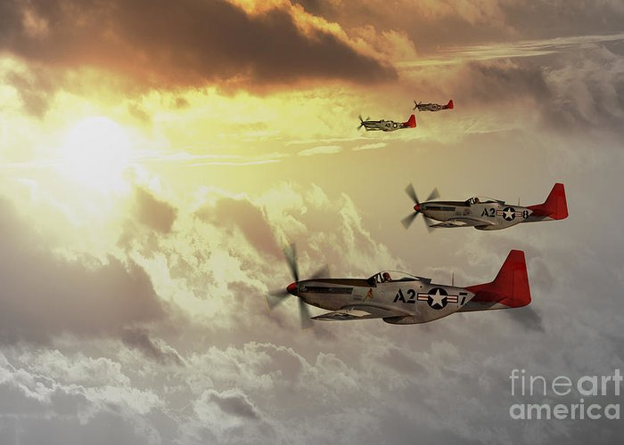 P51 Greeting Card featuring the digital art Red Tails by J Biggadike