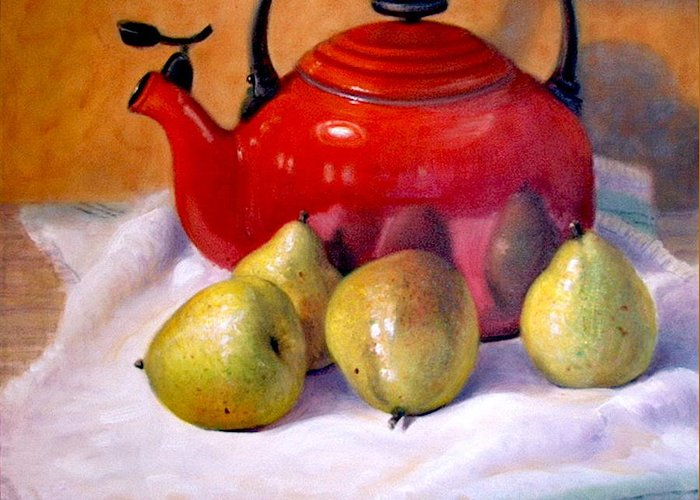 Realism Greeting Card featuring the painting Red Teapot And Pears by Donelli DiMaria