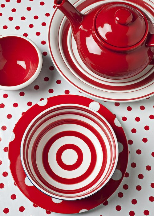 Red White Teapot Bowl Greeting Card featuring the photograph Red Teapot by Garry Gay