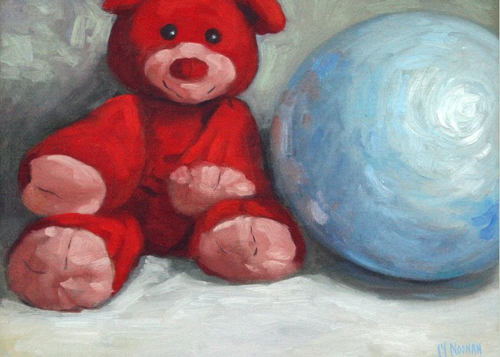 Teddy Bear Greeting Card featuring the painting Red Teddy And A Blue Ball by William Noonan