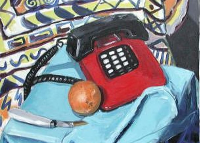Still Life Greeting Card featuring the painting Red Telephone by Rollin Kocsis