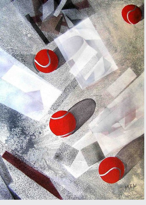 Tennis Balls Greeting Card featuring the painting Red Tennis Balls On White Sand by Evguenia Men