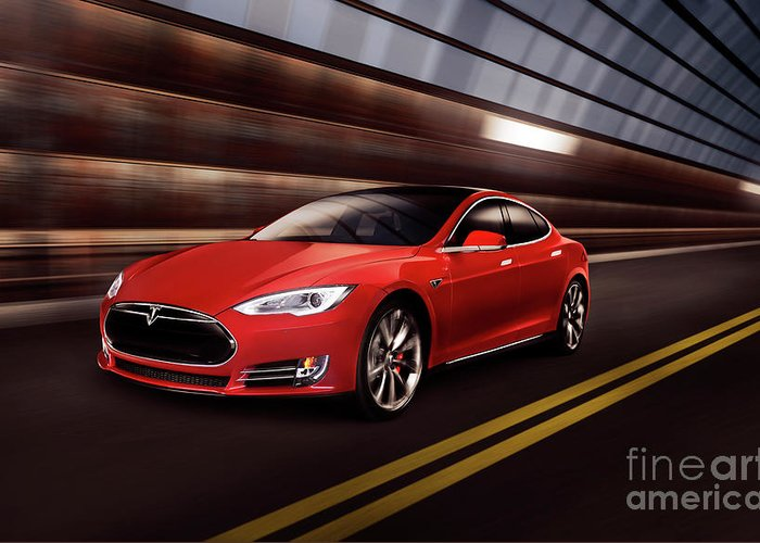 Tesla Greeting Card featuring the photograph Red Tesla Model S Red Luxury Electric Car Speeding In A Tunnel by Maxim Images Prints
