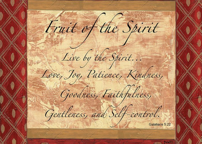Fruit Of The Spirit Greeting Card featuring the painting Red Traditional Fruit Of The Spirit by Debbie DeWitt
